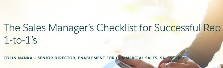 The Sales Manager_s Checklist for Successful Rep 1-to-1_s