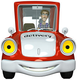 3d businessman courier driving